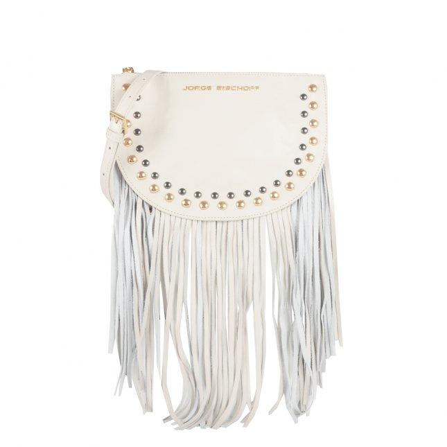 Bolsa Meia Lua com Franjas Off White I21
