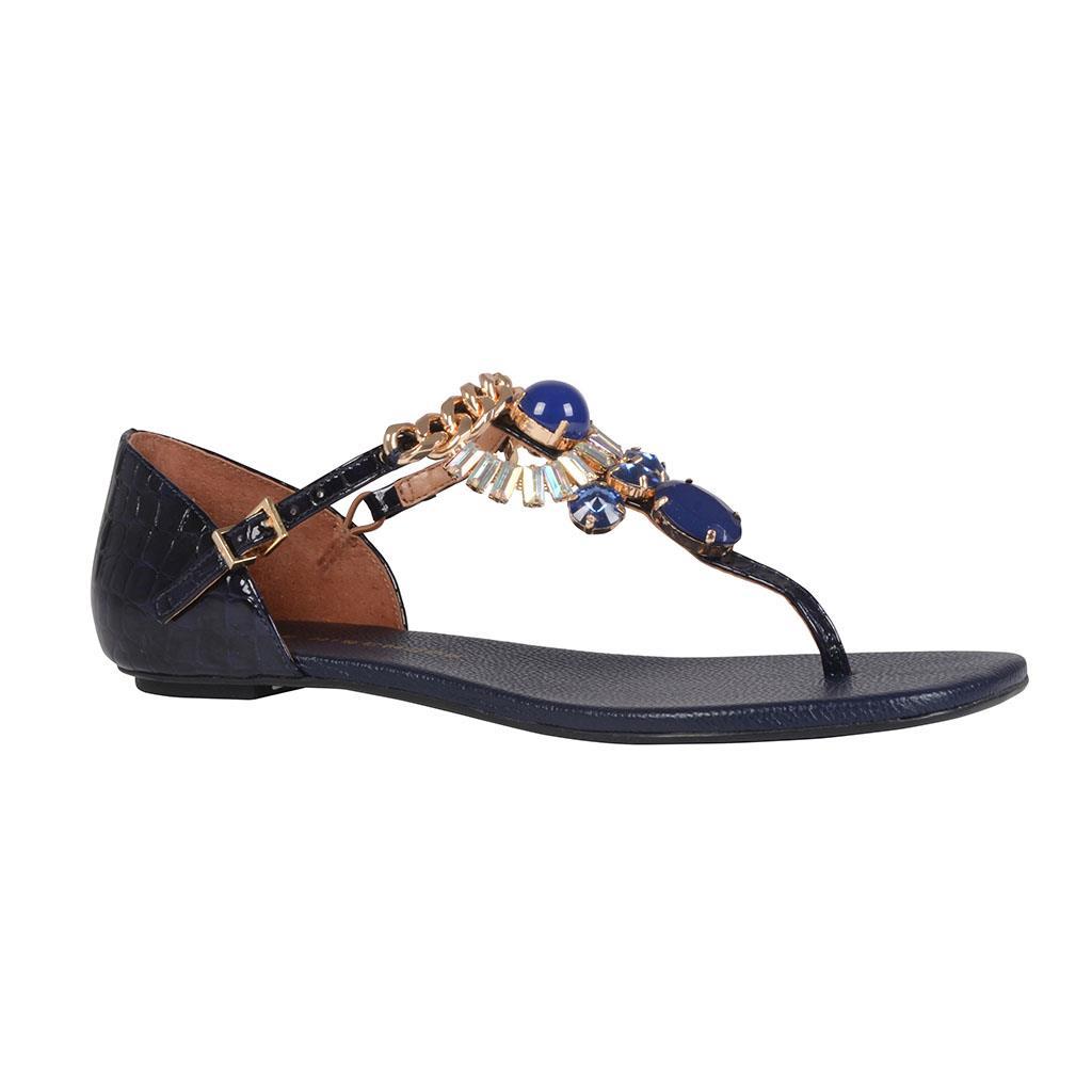 Sandália rasteira azul carbono I19