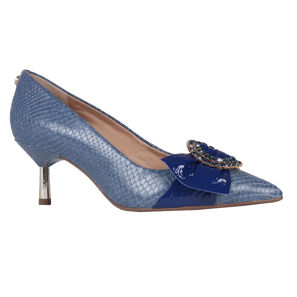 Scarpin Couro Jeans Azul Náutico com Pedrarias V20