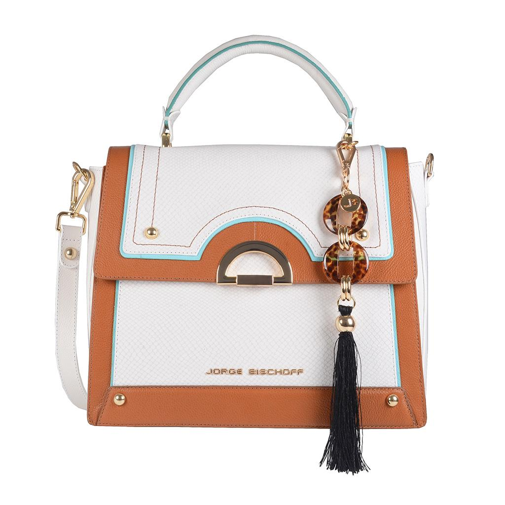 Bolsa Baú Branca com Bag Charm V20