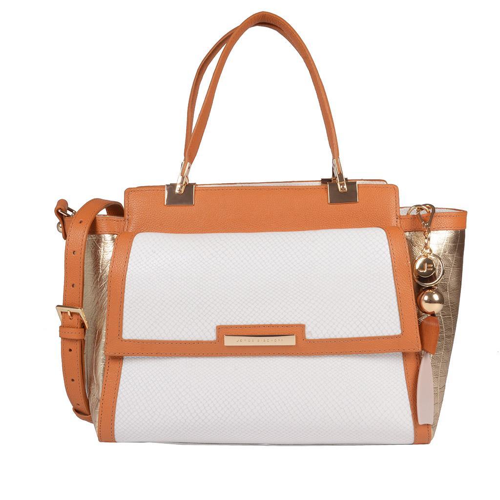 Bolsa Estruturada Couro com Bag Charm V20
