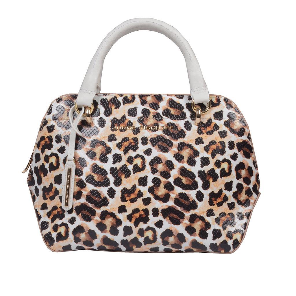 Bolsa Couro Animal Print Onça com Bag Charm V20