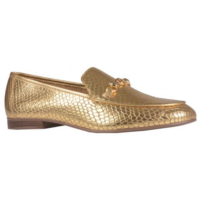 Loafer Couro Metalizado Dourado V21