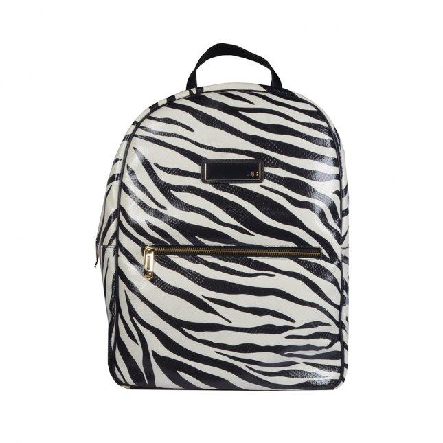 Mochila Couro Texturizado Estampa Zebra