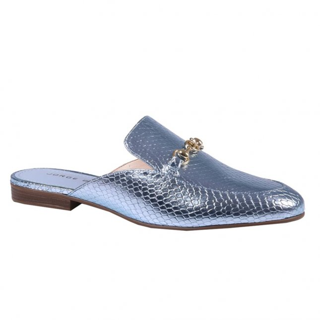 Mule Couro Metalizada Cotton Blue V21