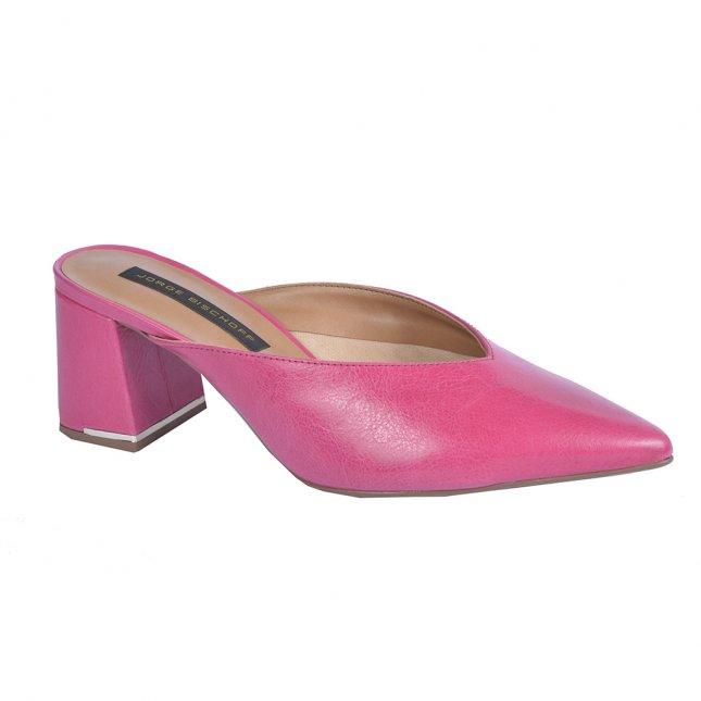 Mule Couro Pink Bico Fino