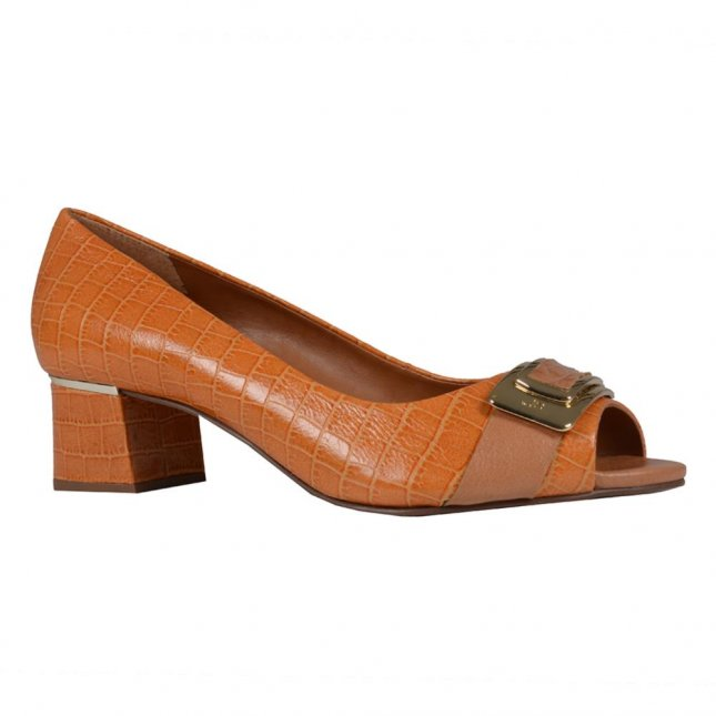 Peep Toe Croco Curry com Salto Bloco I20