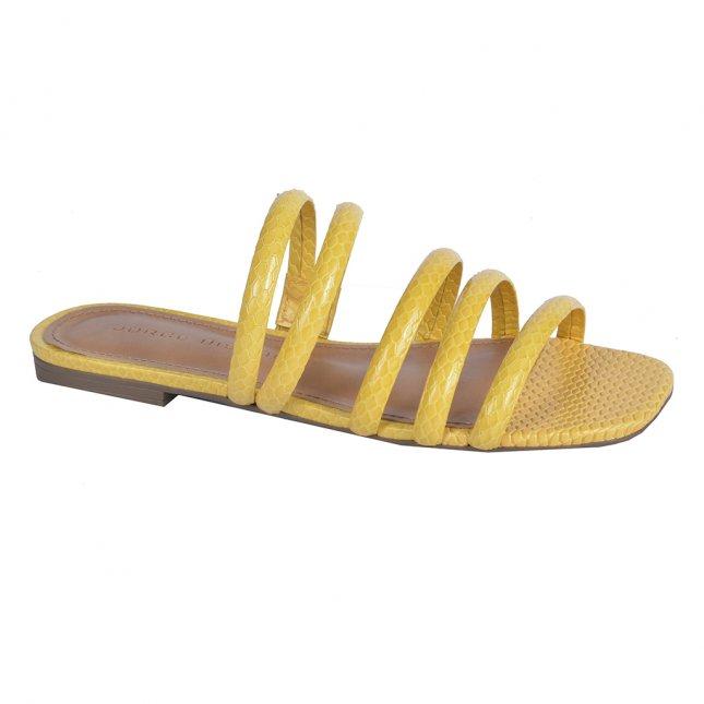 Rasteira Couro tiras amarela