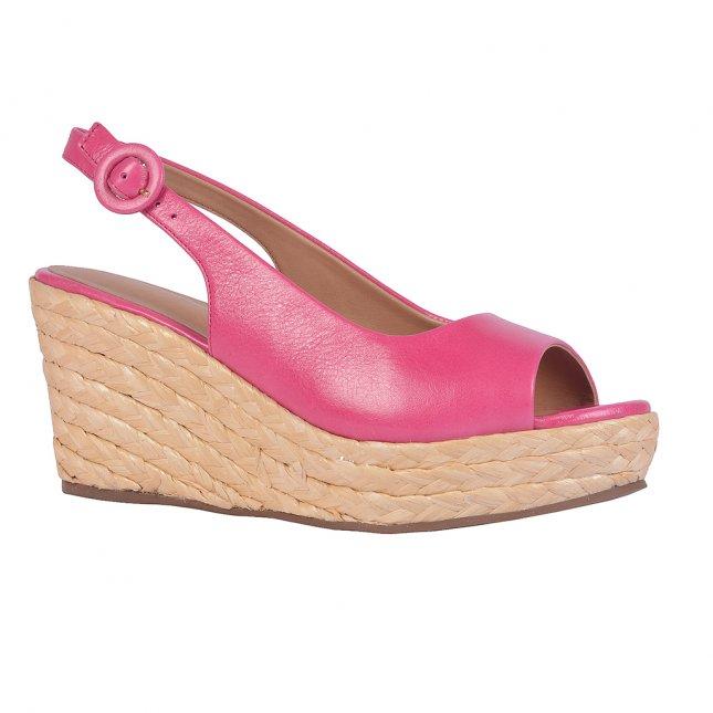 Sandália plataforma couro Rosa