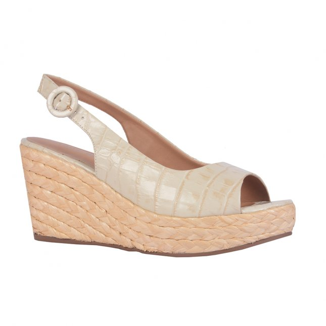 Sandália plataforma couro croco off white