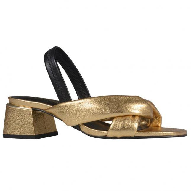 Sandália Comfy Dourada com Salto Flare V21