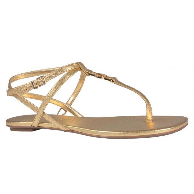 Sandália Rasteira Dourada em Couro V21