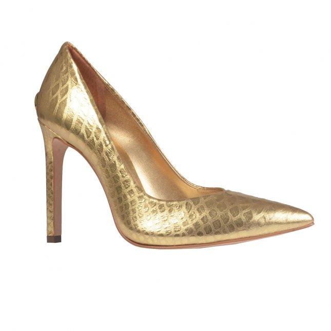 Scarpin Bico Fino Couro Metalizado Dourado I21