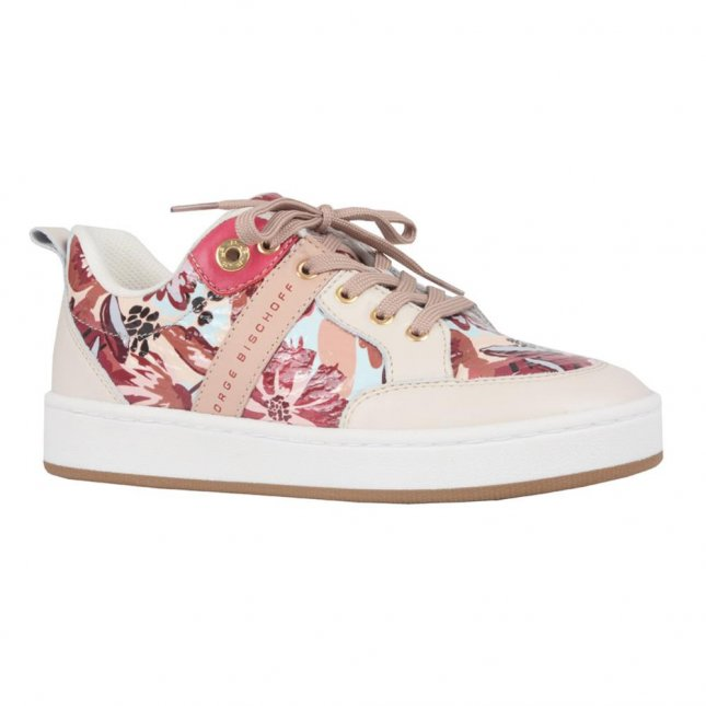 Tênis Casual Couro Floral I21