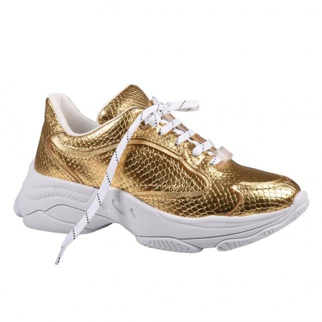 Tênis Feminino Dourado em Couro V21