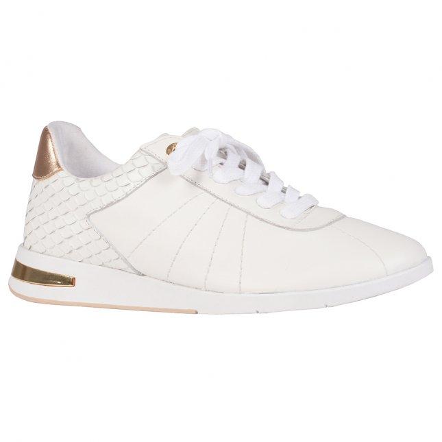 Tênis Couro Branco com Dourado V21