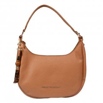 Imagem - Bolsa Baguete Couro Camel com Bag Charm