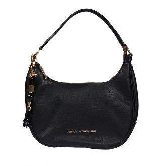 Imagem - Bolsa Baguete Couro Preta com Bag Charm