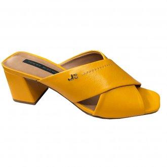 Imagem - Tamanco Amarelo em Couro com Salto Bloco