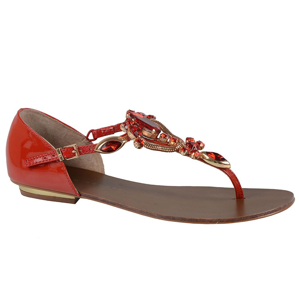 Sandália rasteira vermelha