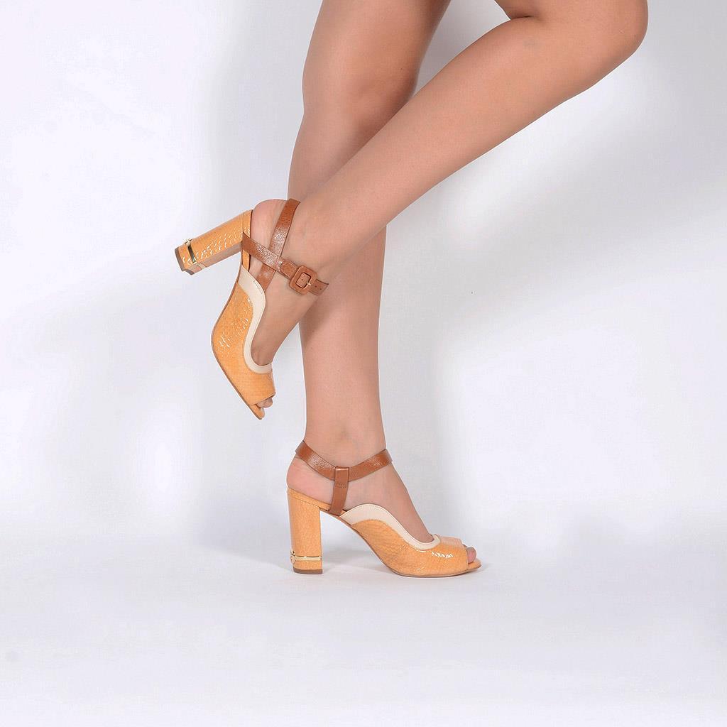 Sandália Couro Sisal com Salto Bloco V20 6
