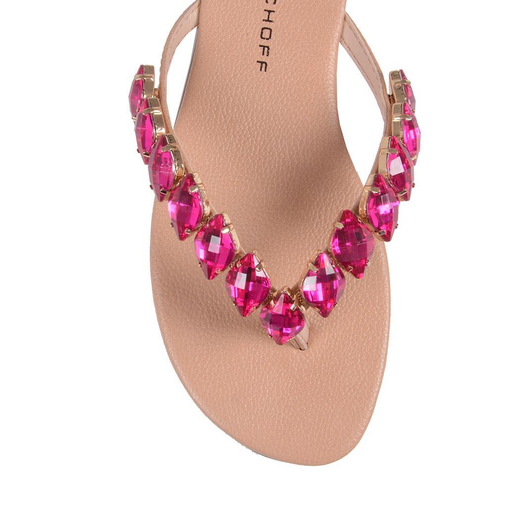 Rasteira com Pedrarias - Rosa Pink V19 4