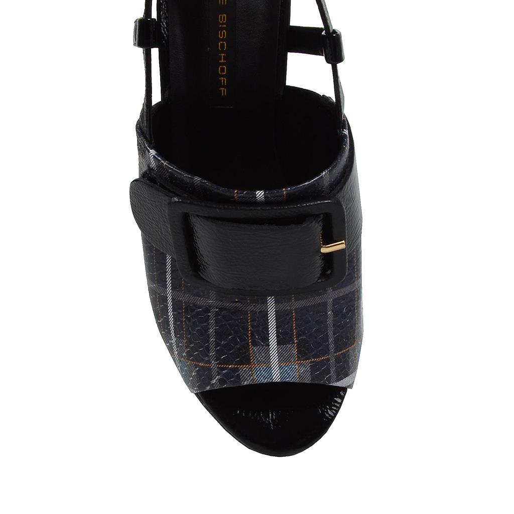 Sandália slingback xadrez tartan azul I19 4