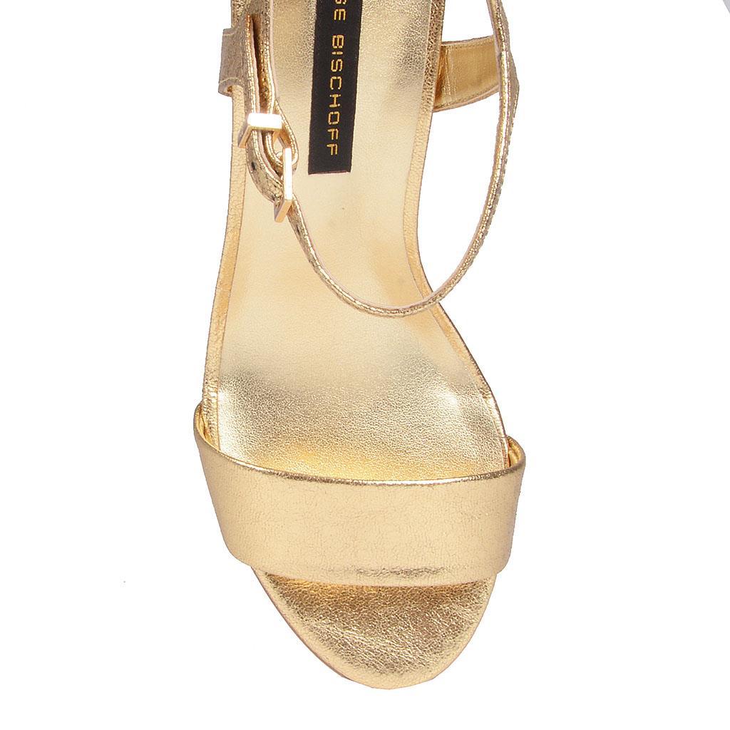 Sandália Ouro salto bloco I19 4