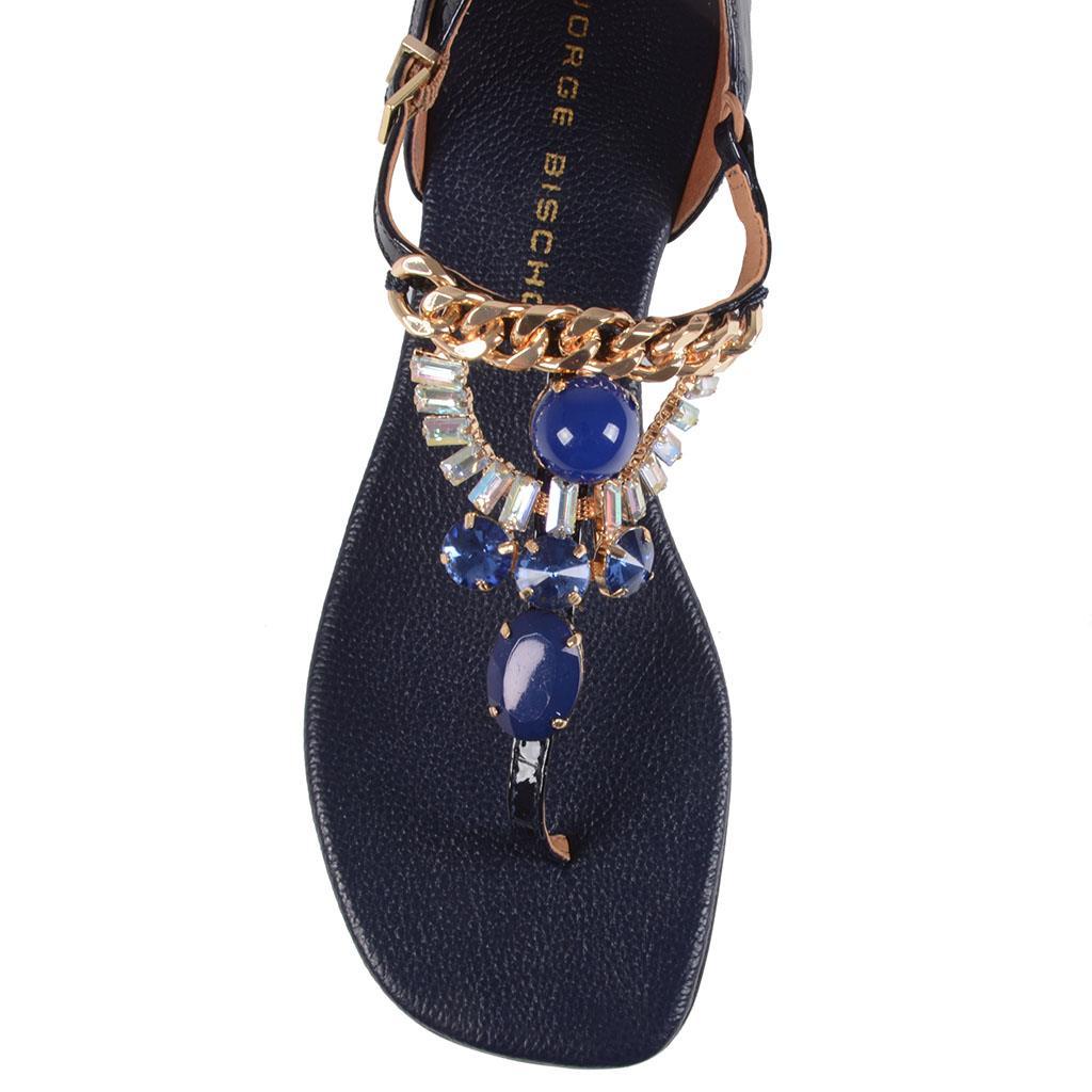 Sandália rasteira azul carbono I19 4