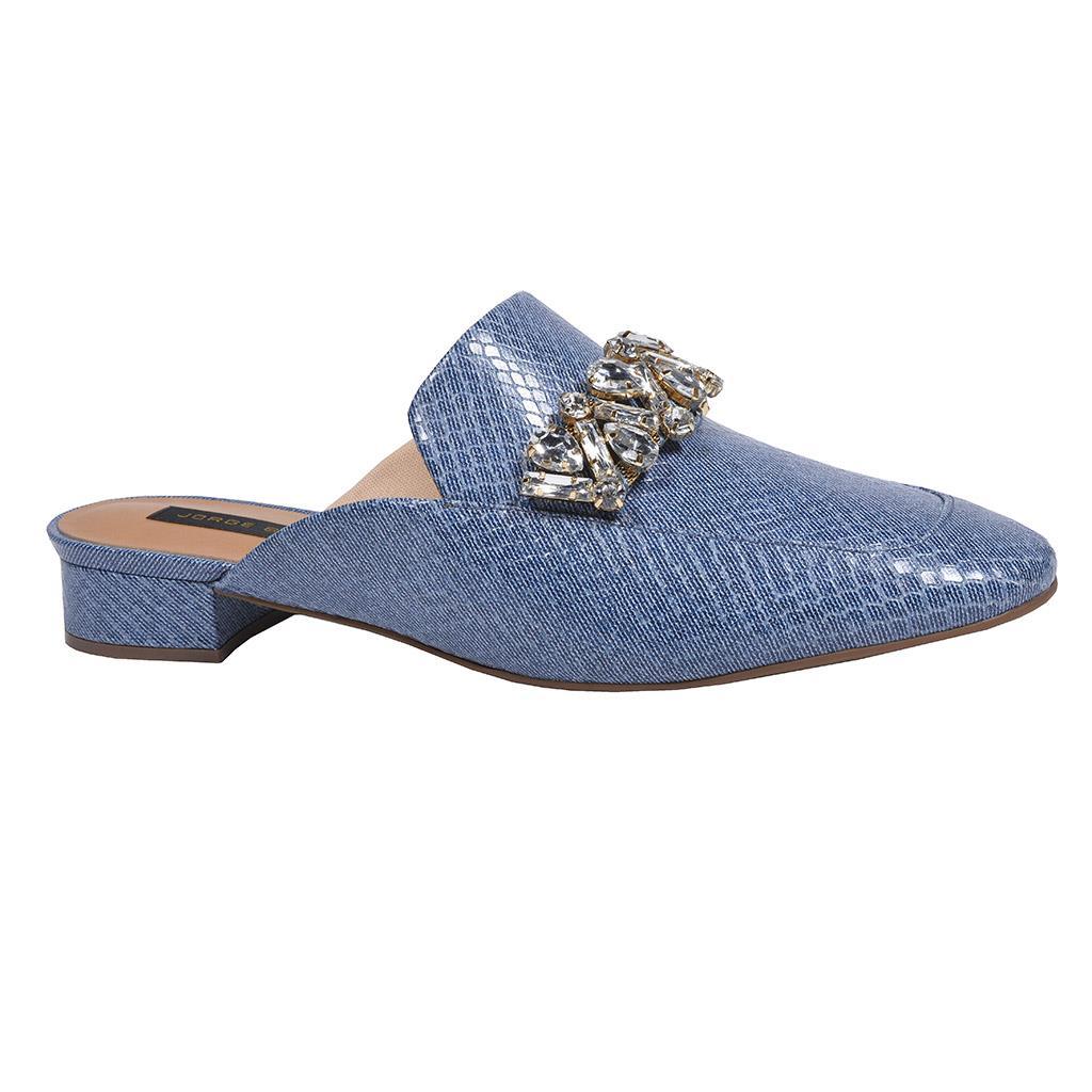 Mule Couro Jeans Azul Náutico com Pedrarias V20