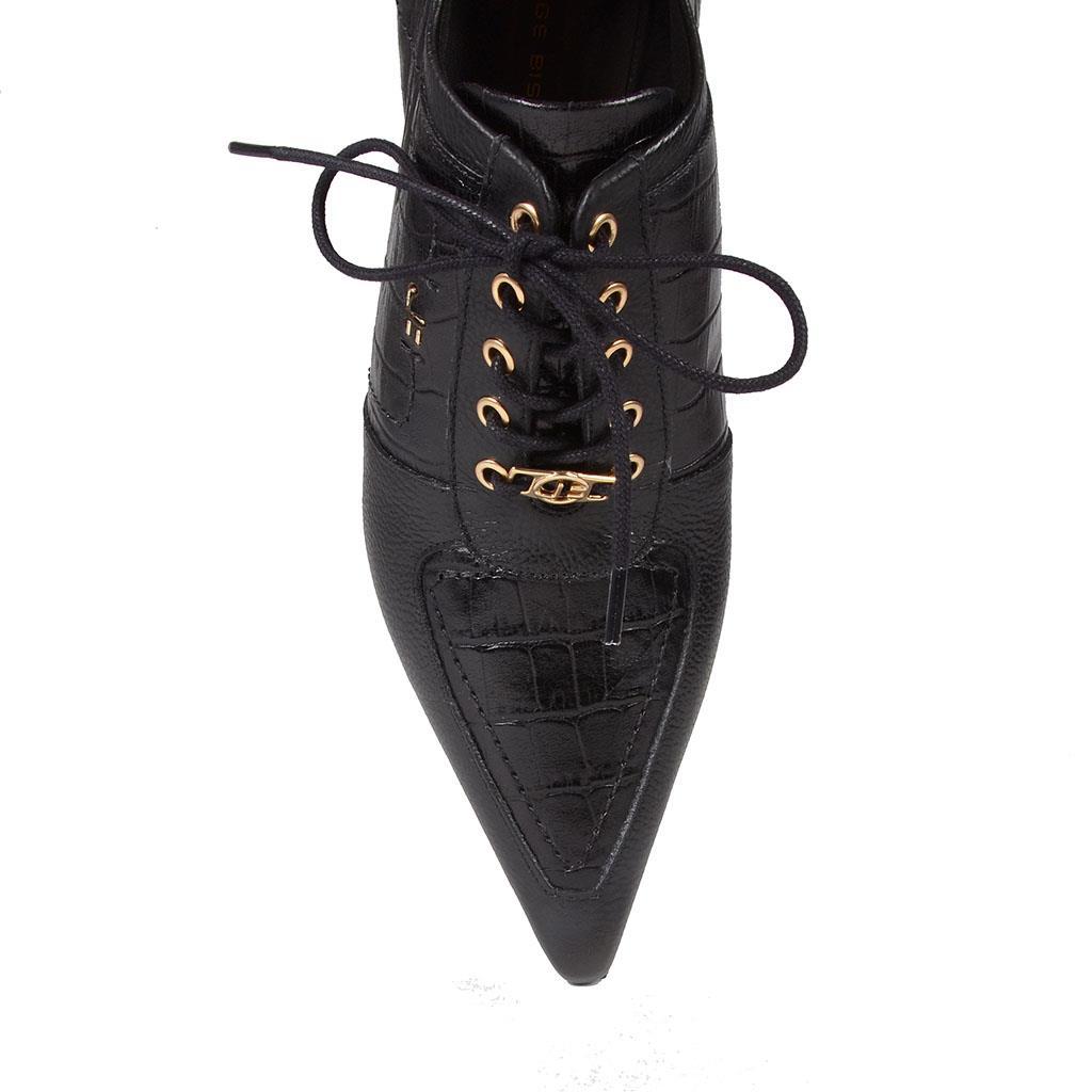 Ankle boot preta com amarração I19 4