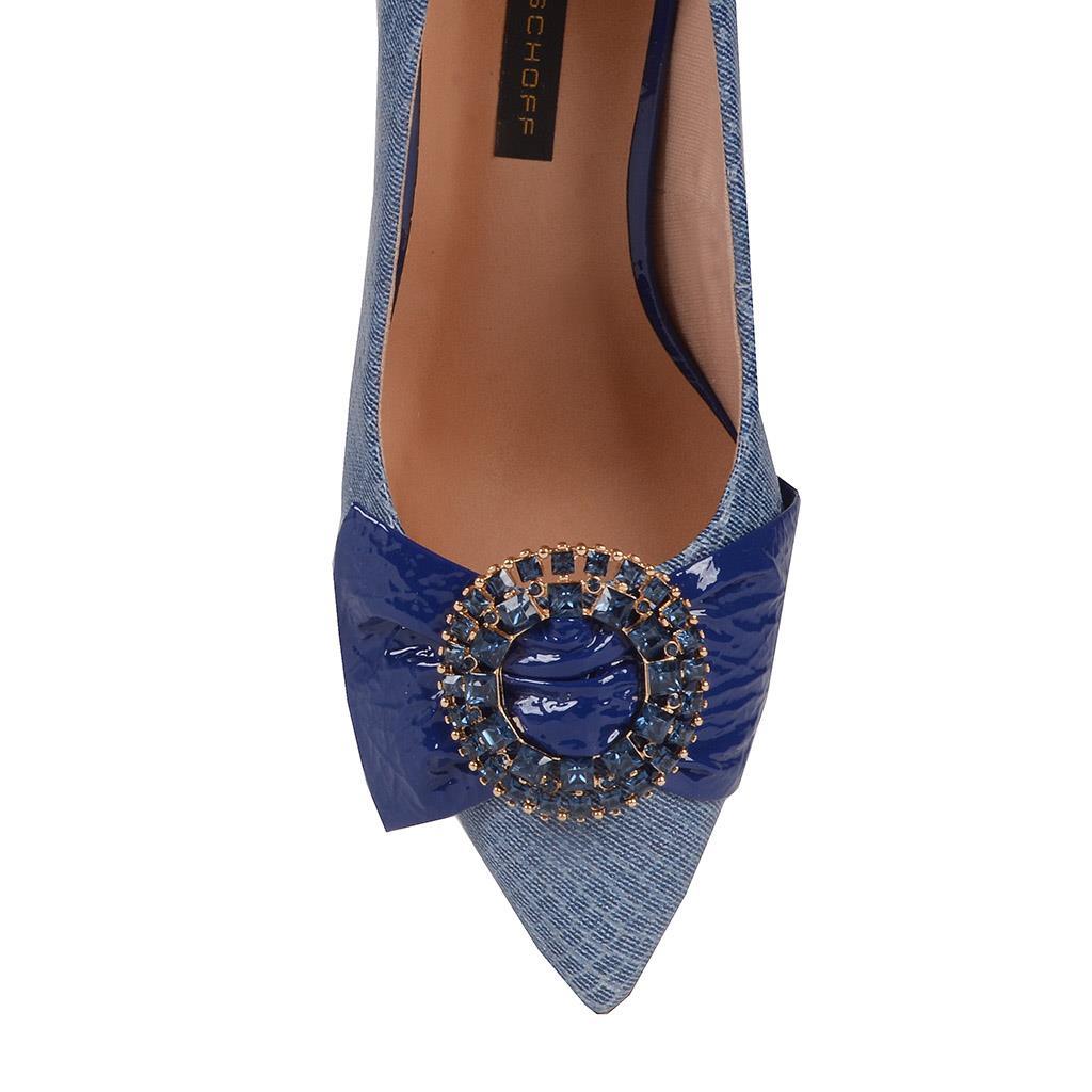 Scarpin Couro Jeans Azul Náutico com Pedrarias V20 4