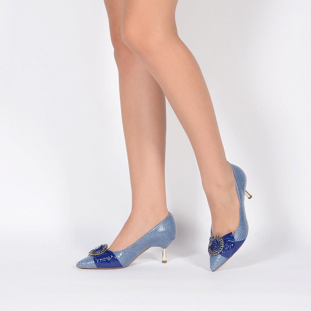 Scarpin Couro Jeans Azul Náutico com Pedrarias V20 6