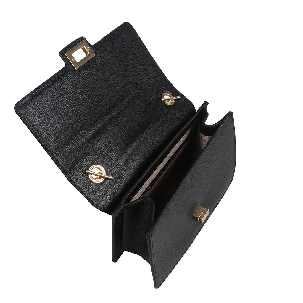 Bolsa Estruturada Preta com Alça Corrente 2