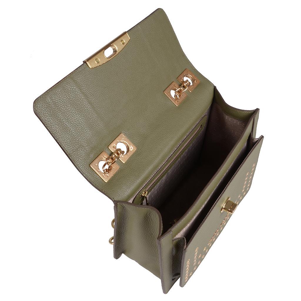 Bolsa tiracolo estruturada verde militar I19 5