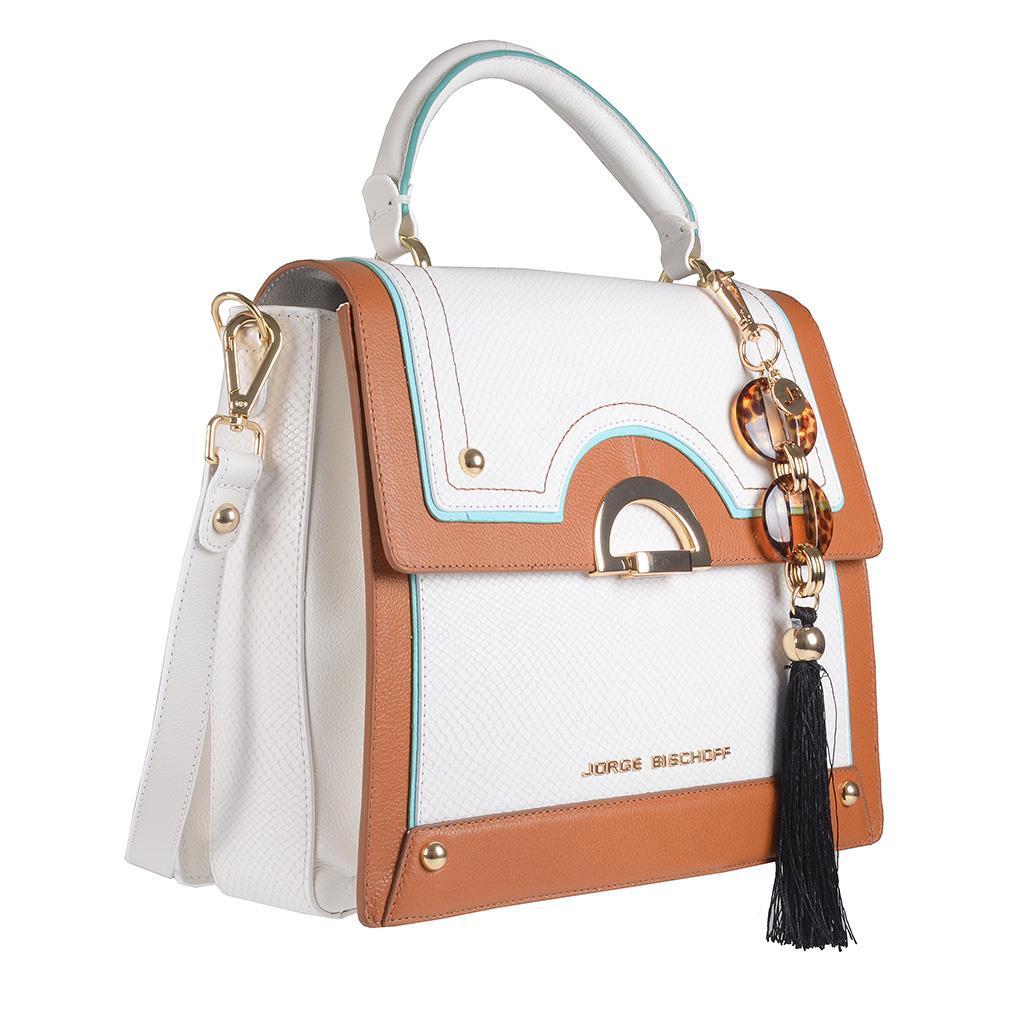 Bolsa Baú Branca com Bag Charm V20 2