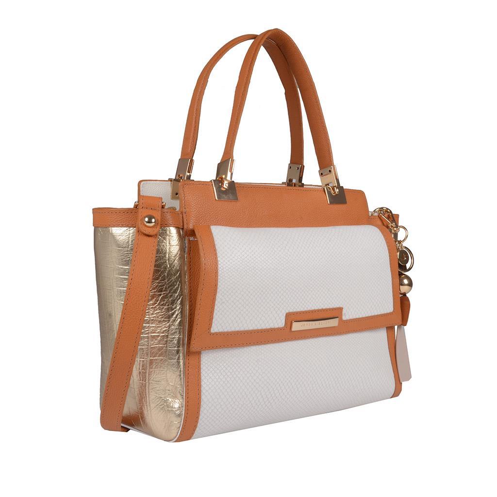 Bolsa Estruturada Couro com Bag Charm V20 2