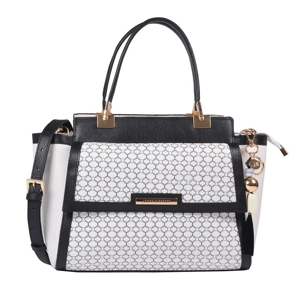 Bolsa Estruturada Couro P&B com Bag Charm V20