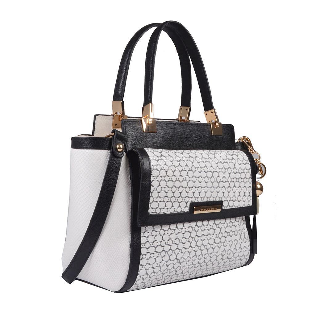 Bolsa Estruturada Couro P&B com Bag Charm V20 2