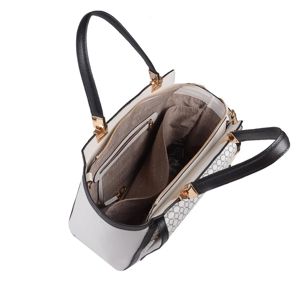 Bolsa Estruturada Couro P&B com Bag Charm V20 5