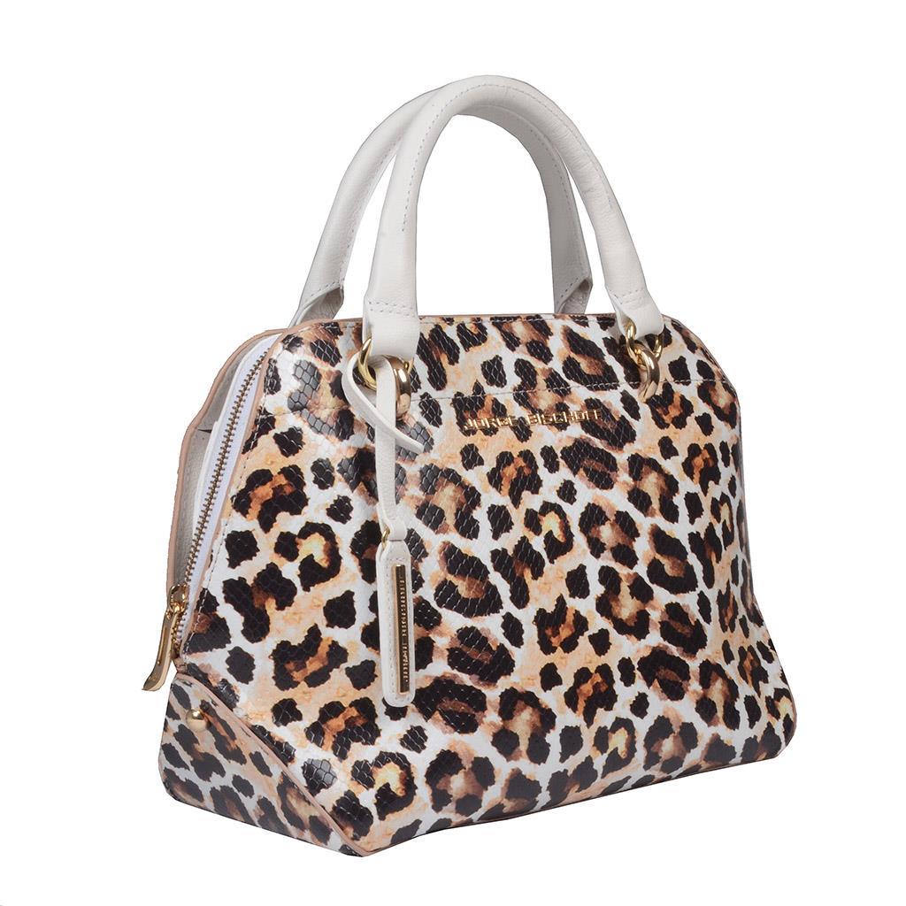 Bolsa Couro Animal Print Onça com Bag Charm V20 2