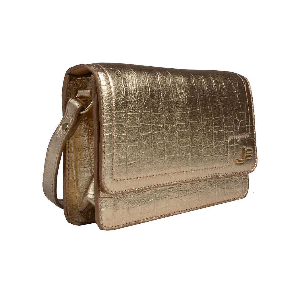 Clutch Tiracolo Croco Metalizado Ouro V20 2