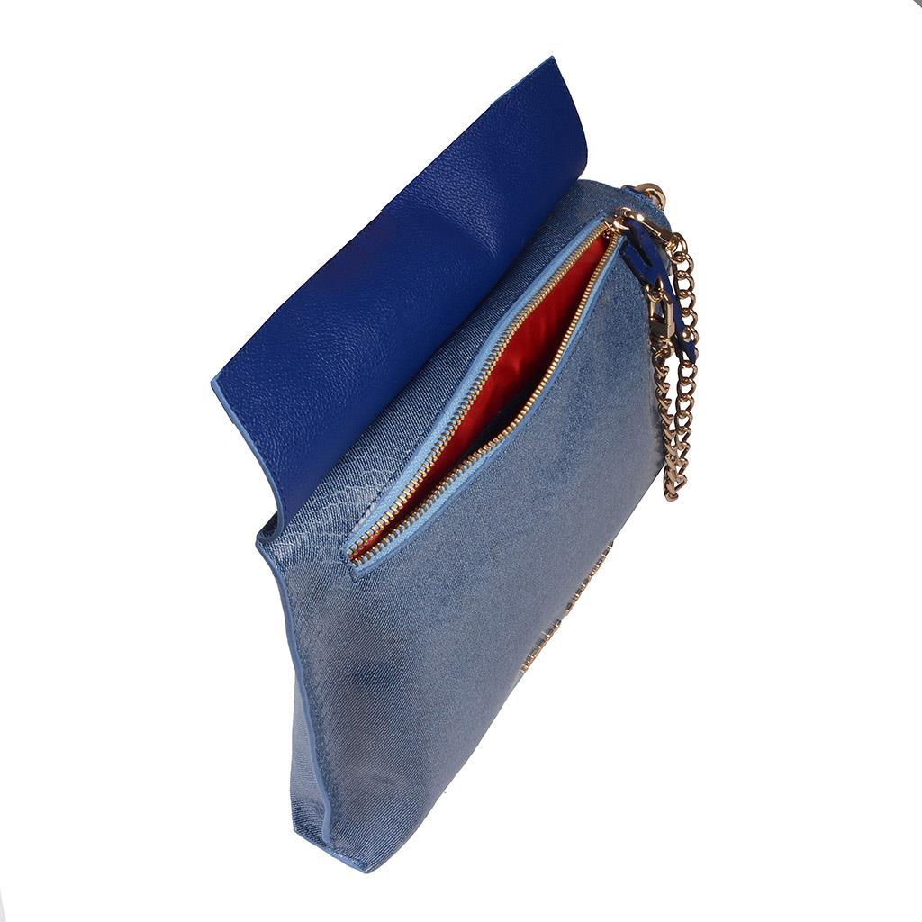Clutch Couro Jeans Azul Náutico V20 5