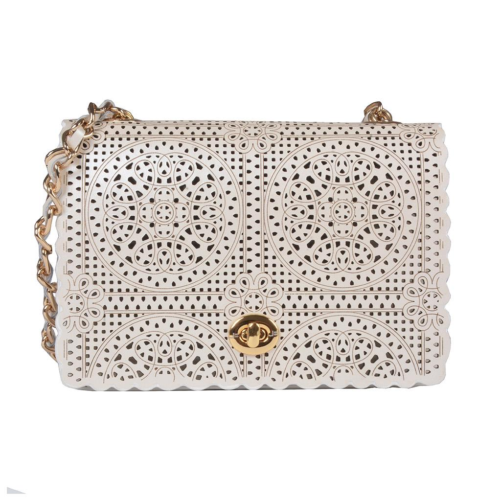 Clutch Say Yes Couro Acetinado Broderie Branco V20