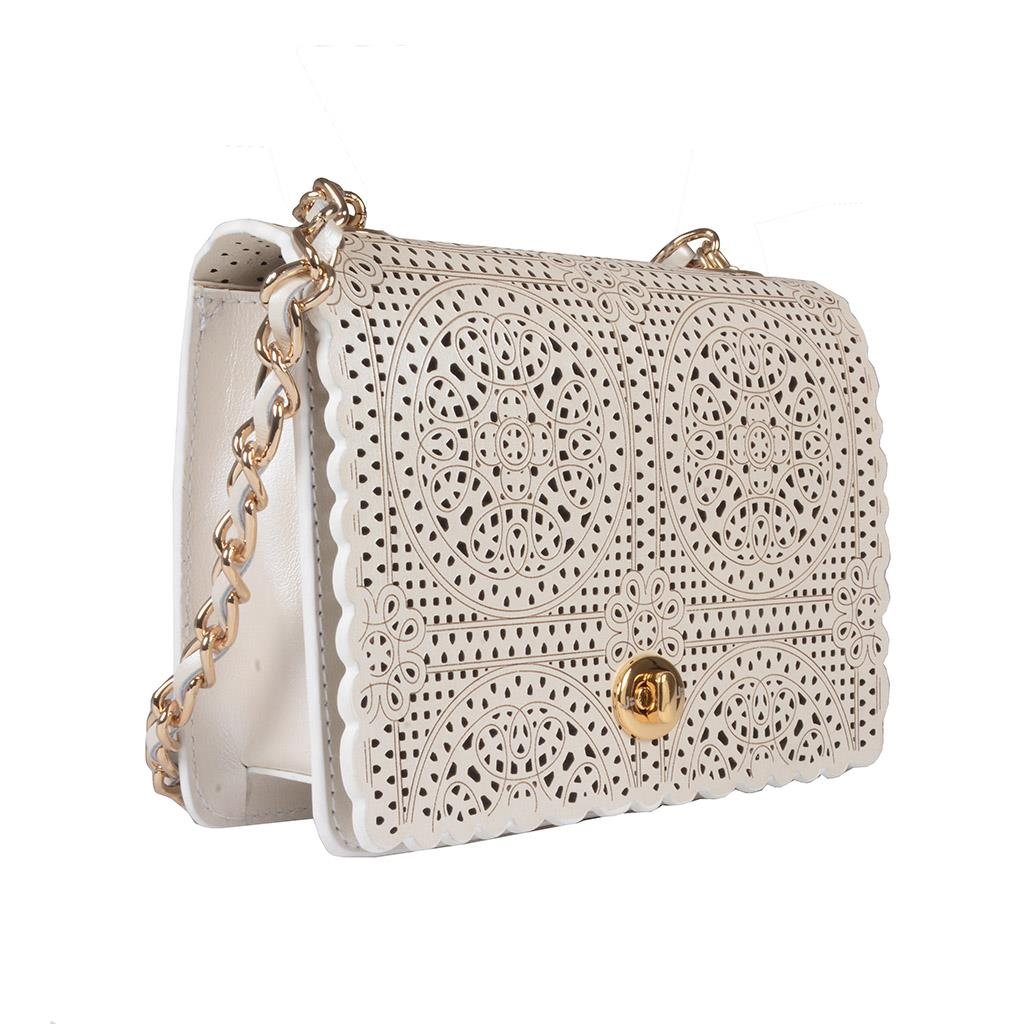 Clutch Say Yes Couro Acetinado Broderie Branco V20 2
