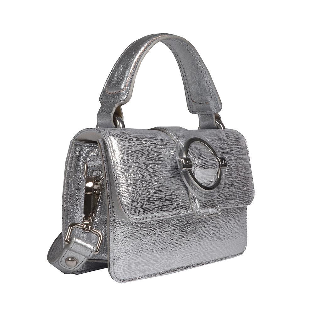 Clutch Tiracolo Couro Metalizado Prata V20 2