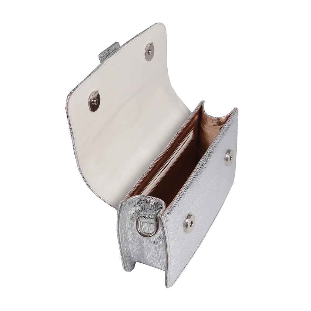 Clutch Tiracolo Couro Metalizado Prata V20 5