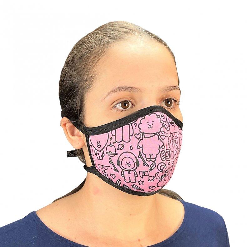 Conjunto 4 máscaras com elástico kpop BTS / BT21 / Black Pink / Twice