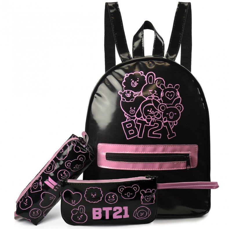 Conjunto Mini-mochila + carteirinha + estojo BTS - BT21