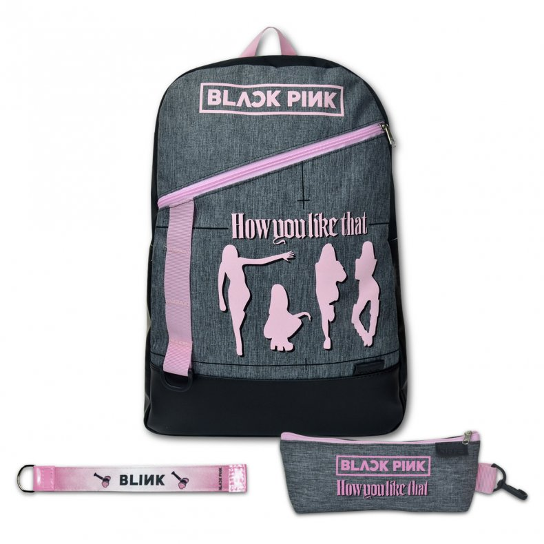 Conjunto Mochila + Estojo + Chaveiro BLACK PINK HOW YOU LIKE THAT
